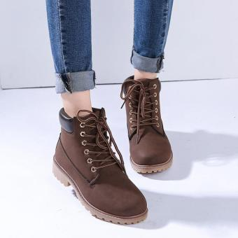 LALANG Fashion Women Ankle Martin Boots Military Combat Shoes Brown - intl