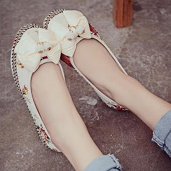 LALANG Female Bow Flower Colorful Casual Flats Embroidered Shoes Price Philippines