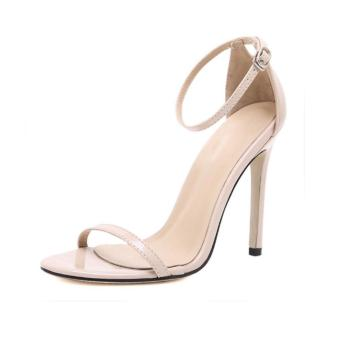 LALANG Fish Mouth High Heel Shoes Women Sandals (Apricot) - intl