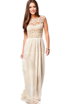 LALANG Floral Pattern Lace Crochet Chiffon Dress (Beige)