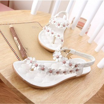 LALANG Hot Sales Summer Women Sandals Bohemia Flower Casual Toepost Flats Shoes White - 3