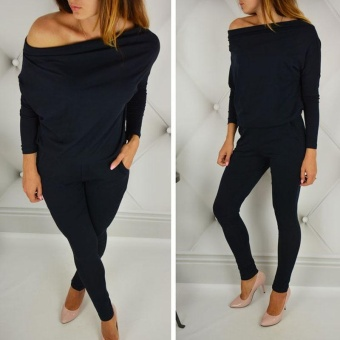 LALANG Long Sleeve Off Shoulder Jumpsuits Rompers (Black) - intl