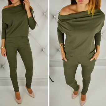 LALANG Long Sleeve Off Shoulder Jumpsuits Rompers (Green) - intl Price Philippines