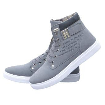 LALANG Men High Top Lace Ankle Boots Casual Warm Canvas Shoes40(Grey) - intl - 5