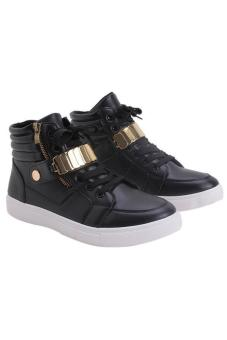LALANG Men PU Leather Sneakers High Cut Sports Shoes Black - 2