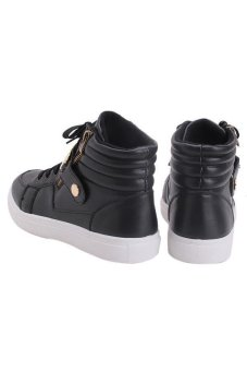 LALANG Men PU Leather Sneakers High Cut Sports Shoes Black