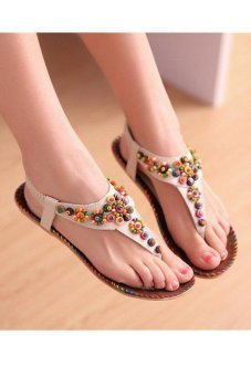 LALANG New Fashion Bohemian Beading Sandals Flat Beach Sandal Beige