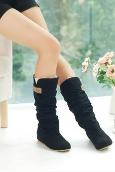 LALANG New Fashion Casual Flat Shoes Sweet Boot Stylish Mid-calf Boots Black - intl