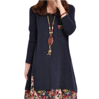 LALANG Sexy Women Full Sleeve Dress Floral Splice Navy Blue Price Philippines