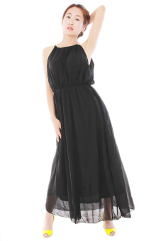 LALANG Sleeveless Sexy Long Pleated Dress (Black) - picture 2