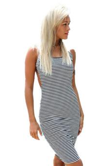 LALANG Striped Dress Black/White