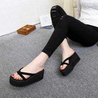 LALANG Summer Flip Flops High Heels Thick Soled Platform Wedge Slippers (Black) - intl