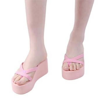 LALANG Summer Flip Flops High Heels Thick Soled Platform Wedge Slippers (Pink) - intl