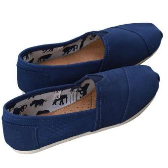 LALANG Unisex Solid Flat Canvas Shoes Lazy Casual Shoes Couple Loafers Comfortable Slip-on Shoes Blue