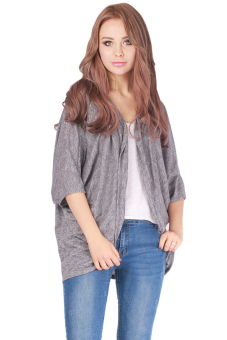 LALANG Women Batwing Sleeve Cardigan Jacket Casual Coat Tops Grey - picture 2