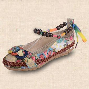 LALANG Women Beading Round Toe Embroidered Shoes Lace Up Increased Flats Shoes - 4