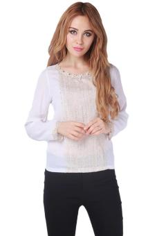 LALANG Women Casual Loose Chiffon Blouse Long Sleeve White Price Philippines
