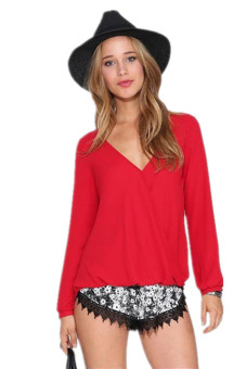 LALANG Women Causal Summer V-Neck Chiffon Blouse - Red - picture 2