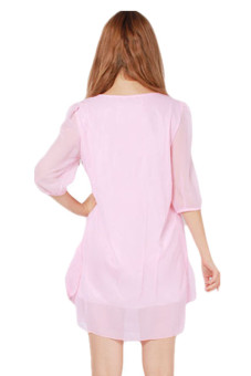 LALANG Women Crew Neck Dress Casual Chiffon Pink