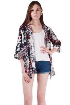 LALANG Women Floral Kimono Blouse Open Front Tops Multicolor - Intl