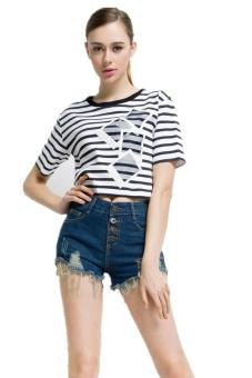 LALANG Women High Waisted Hotpants Cut Off Denim Shorts Dark Blue