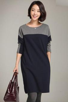 LALANG Women Korean Stitching Loose Dress Bottoming Shirt Navy
