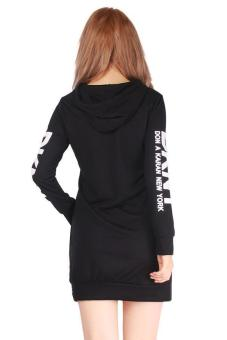LALANG Women Letter Printed Pocket Long-sleeved Hooded Dress Black - picture 4
