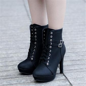 LALANG Women PU Leather Thin High Heel Short Boots (Black) - intl - 2