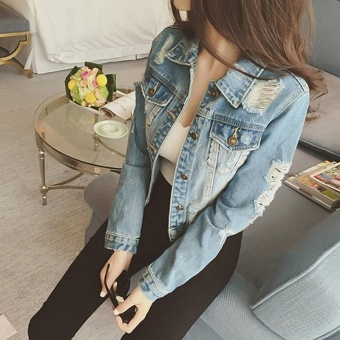 LALANG Women Slim Cotton Light Washed Short Jeans Jacket Coats Summer Denim Jacket (Blue) - intl