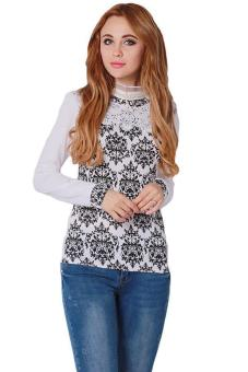 LALANG Women Slim Lace Blouse Long Sleeve Shirt Tops White Price Philippines