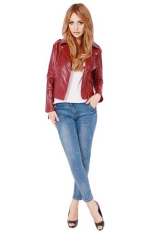 LALANG Women Slim Short Jacket PU Leather Coat Wine Red