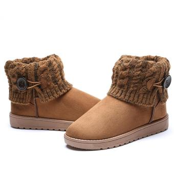 LALANG Women Snow Boot Ankle Short Boots Winter Warm Platform Shoes Brown