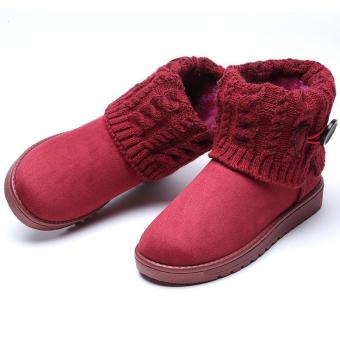 LALANG Women Snow Boot Ankle Short Boots Winter Warm Platform ShoesWine red