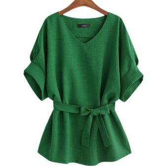 LALANG Women Vintage Bat Sleeve Blouses Loose Shirt Tops (Green) -intl - 4