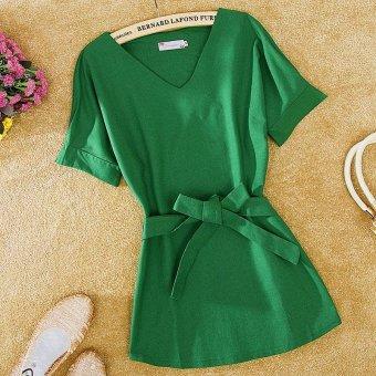 LALANG Women Vintage Bat Sleeve Blouses Loose Shirt Tops (Green) -intl - 5