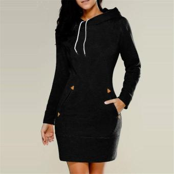 LALANG Womens Long Sleeve Pencil Pocket Hoodie Dress (Black) - intl Price Philippines