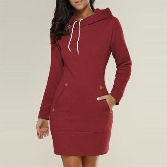 LALANG Womens Long Sleeve Pencil Pocket Hoodie Dress (Burgundy) -intl Price Philippines