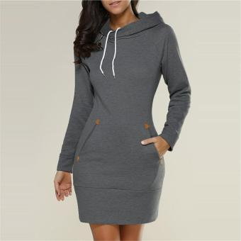 LALANG Womens Long Sleeve Pencil Pocket Hoodie Dress (Charcoal) -intl Price Philippines
