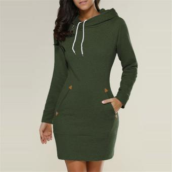 LALANG Womens Long Sleeve Pencil Pocket Hoodie Dress (Green) - intl Price Philippines
