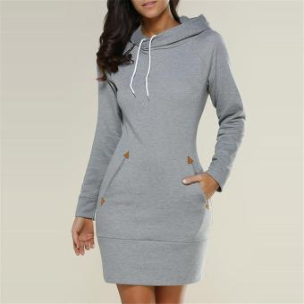 LALANG Womens Long Sleeve Pencil Pocket Hoodie Dress (Grey) - intl Price Philippines