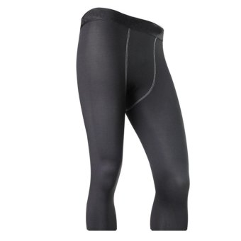 LANBAOSI Men's Compression Capri Leggings Tights Running 3/4 BaseLayer Pants (Black) - intl