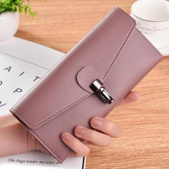 Large Capacity Leather Clutch Checkbook Wallet Card Holder Purse For Women PK - intl