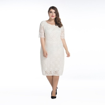 Large size ladies' Increasing fertilizer dress lace collar 5minutes of sleeve dress - intl