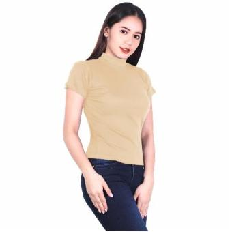 Latest Trend Plain Turtle Neck Blouse (Cream) Price Philippines