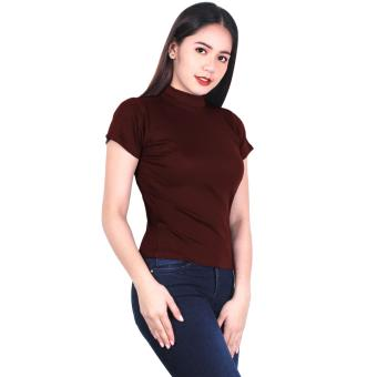 Latest Trend Plain Turtle Neck Blouse (Maroon) Price Philippines