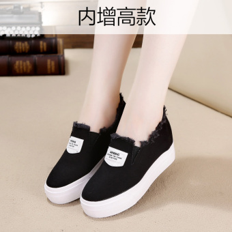 Lazy Korean-style a pedal foot covering thick bottomed casual shoes canvas shoes (Increased within paragraph black)