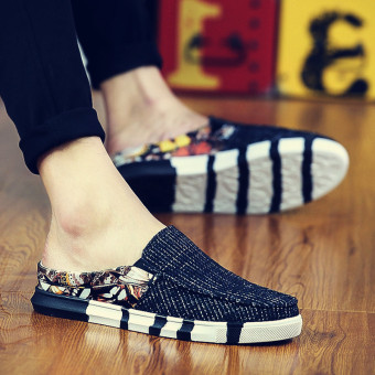 Lazy Korean-style canvas foot covering spring men shoes moccosins (Black)