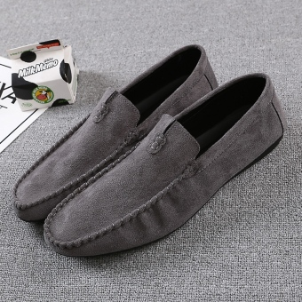 Lazy Korean-style red men shoes men's casual shoes (Gray)