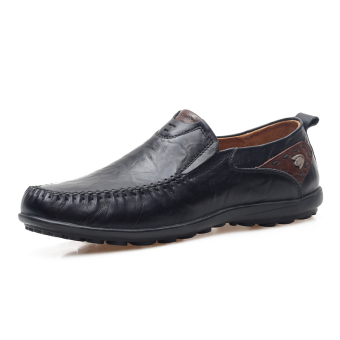 Lazy leather men's moccosins casual leather shoes (Black)