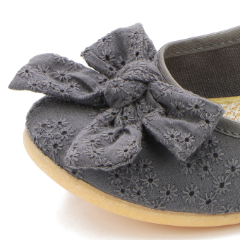 Lazy old Beijing black female flat shallow mouth shoes cloth shoes (Gray)